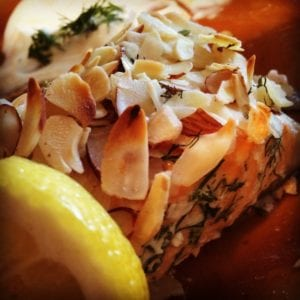 Image of Dehydrated Dill Infused Almond Encrusted Salmon